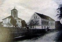 Habřina- kostel hist.pohlednice
