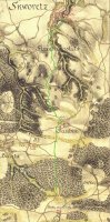 Zelená cesta vyznačená na mapě zroku 1781