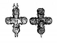 Bronzový ostatkový křížek typu enkolpion